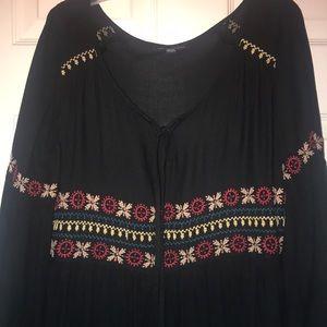 Flowy boho embroidered dress